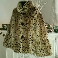 INC (International Concepts) Leopard Print  Jacket Very Chic, INC (International Concepts )  Leopard print, waist length, faux furjacket.    3/4  sleeves.  Oooh Soo soft!  Completely lined  in gold satin. Womens size XL.  Worn only once. Like new condition!  Warm and cozy and Soo cute on! INC International Concepts Jackets & Coats