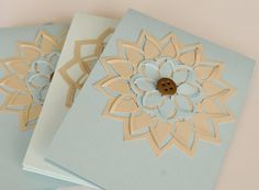 Blue and Beige Blank Greeting Cards Card Set by CardsbyJeweleighaB, $13.00
