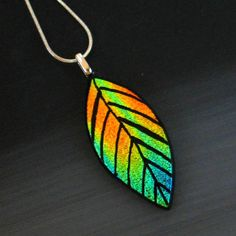 Hand Etched Fused Glass Pendant Dichroic Fused Glass by GlassCat, $22.50