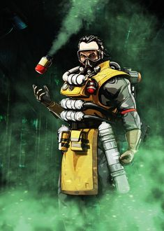 """Apex Legends Character Poses Caustic By """"Alexandros Iosifidis"""" Cartoon Network, Fantasy Football Rings, Lego Knights, Legend Games, Battle Royale Game, Dragon Age Inquisition, Character Poses, Bloodhound, Poster Making"""