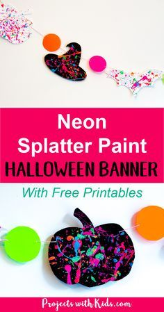 Take your Halloween decor to the next level with this neon splatter paint halloween banner with FREE printables! This is an easy and fun process art activity that kids of all ages will love. Check out the full post to get your FREE halloween silhouette pr