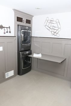 Chic keter folding work table in Laundry Room Transitional with Fold Out Table next to Murphy Table alongside Washer Dryer Cabinet and Fold Down Table