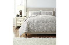 Gray Paisley 3-Piece Queen Duvet Set View 1