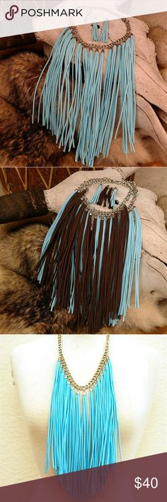 """Boho Leather Fringe Turquoise Necklace Earring Genuine suede leather Fringe necklace. 18"""" with 3"""" extender and Lobster Claw clasp. Suede fringe 9.5"""". Earrings length 4"""". Silvertone finish. Also available in Brown in a separate listing.  Beautiful Southwestern Western Cowgirl Boho Hippie Bohemian Price Firm Unless Bundled No Trades Boutique Jewelry Necklaces"""