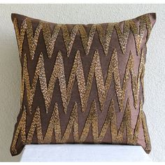 """Brown 3D Beaded Zigzag Pillows Cover, 20""""X20"""" Silk Pillows Cover - Gold Zig Zag"""