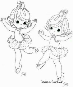 Precious Moments Coloring Page(s) | A Pair Of Dancing Ballerinas.