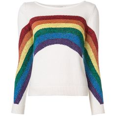 Marc Jacobs Rainbow knitted top (6,340 MXN) ❤ liked on Polyvore featuring tops, shirts, sweaters, blouses, white, patterned shirts, colorful shirts, shirt top, three quarter length sleeve tops and 3/4 length sleeve tops