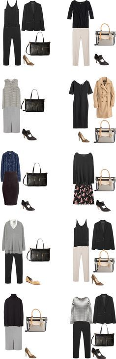 I sat last night and put together as many outfits as I could from the Basic Work Capsule wardrobe in my last post. I managed to get 40 differ