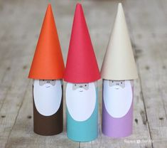 Repeat Crafter Me: Paper Roll Gnomes--finally something to do with the million toilet paper tubes I've been collecting! could make these in to containers for advent Toilet Roll Craft, Toilet Paper Roll Crafts, Diy Paper, Fun Crafts To Do, Crafts For Kids, Arts And Crafts, Enchanted Forest Book, Origami, Repeat Crafter Me