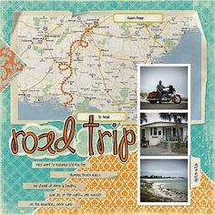 Trip - Layout triangle pieces of pattern paper pointing toward map. Road trip route marked out on map.triangle pieces of pattern paper pointing toward map. Road trip route marked out on map.