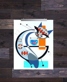 Letter G, Mid Century Modern Cat Alphabet, Giclee Print by Domini – Domcats Modern Tattoos, Mid Century Modern Art, Cat Drawing, Cat Art, Giclee Print, Mid-century Modern, Doodles, Artsy, Symbols