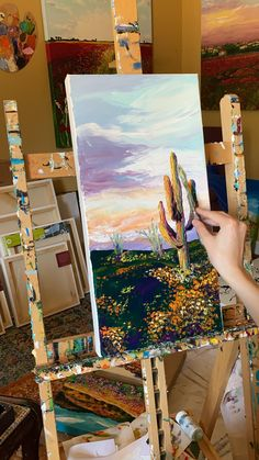 "video of Tessa Nicole ( creating her original oil painting, ""Saguaro in Solitude"". Cactus Painting, Oil Painting Abstract, Watercolor Art, Canvas Painting Nature, Landscape Oil Paintings, Oil Painting Tips, Oil Painting Flowers, Landscape Art, Canvas Painting Tutorials"