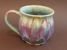 Large tuquoise color wheel thrown ceramic mug.