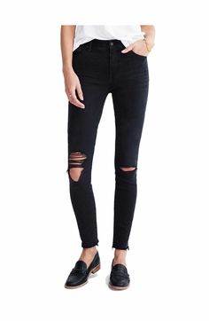 Main Image - Madewell 9-Inch High-Rise Skinny Jeans (Black Sea)