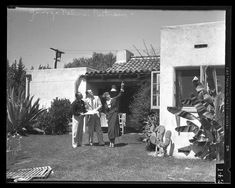 1935 LA Times photo of Amelia Earhart, her husband George Putnam & Paul Mantz in front of Amelia & George's home located at 10042 Valley Spring Lane in Toluca Lake.