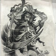 Архив эскизов для тату. | ВКонтакте Owl Tattoo Drawings, Tattoo Sketches, Drawing Sketches, Skeleton Tattoos, Skull Tattoos, Body Art Tattoos, Grim Reaper Art, Grim Reaper Tattoo, Reaper Drawing