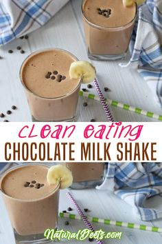 Chocolate Milkshake will quickly become one of your favorite milkshake recipes. It is made with ice in place of ice cream, so it is still healthy and clean eating compliant! You wouldn't say that I am a huge ice cream fan but sometimes I just want a nice thick, chocolate shake! | Natural Deets @naturaldeets #chocolatemilkshake #healthyshake #healthychocolateshake #milkshake #naturaldeets