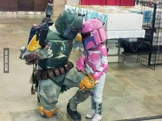 Boba Fett and his daughter Star Wars cosplay. View more EPIC cosplay at http://pinterest.com/SuburbanFandom/cosplay/