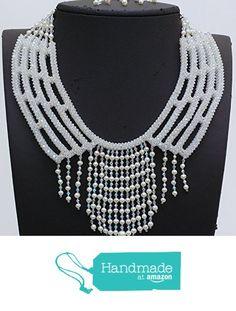Nazo weaving white bridal jewelry NC447 from Nazo Design https://www.amazon.com/dp/B01HSPYC08/ref=hnd_sw_r_pi_dp_YQy6xbJQF5G1V #handmadeatamazon