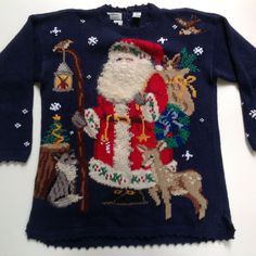 Ugly Christmas Sweater Hand Knitted Tunic Northern Isles Signature Navy L #NorthernIsles #Crewneck