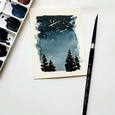 Simple night sky - B. - Simple night sky Simple technique for a night sky - Watercolor Paint Set, Watercolor Painting Techniques, Watercolor Cards, Painting & Drawing, Simple Watercolor Paintings, Watercolor Night Sky, Watercolor Christmas Cards, Watercolor Ideas, Body Painting