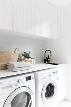 2 in Twelve Forever Home Bathrooms modern white laundry, matte black faucet, modern farmhouse laundry Laundry Room Inspiration, Vintage Laundry, Room Design, Laundry Mud Room, Home, Interior, White Laundry Rooms, Small Laundry Room, White Laundry