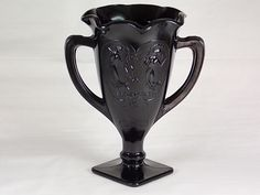 1930's LE Smith Glass Dancing Girls Loving Trophy Cup Vase in Black Amethyst #433 A Dark Purple Glass with Crimped Rim and Square Base - H by DianesBargainShack on Etsy https://www.etsy.com/listing/238321117/1930s-le-smith-glass-dancing-girls