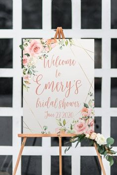 bridal shower welcome sign, floral blush and gold bridal luncheon decor, printable option - -geometric rose bridal shower welcome sign, floral blush and gold bridal luncheon decor, printable option - - Bride or Groom Game He Said She Said Brida. Bridal Shower Welcome Sign, Bridal Shower Signs, Bridal Shower Games, Bridal Shower Decorations, Wedding Decorations, Bridal Shower Planning, Wedding Shower Favors, Bridal Shower Invitations, Gold Invitations