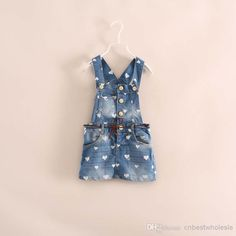 Denim Jumpsuits Dresses Kids girl fashion print sweet heart dress children's new dress