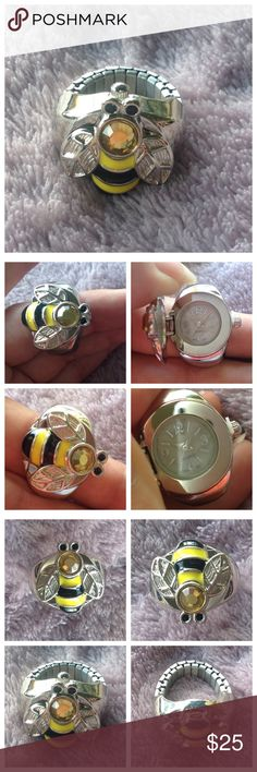 Cute Bumblebee Ring Watch Super cute??  Bumblebee ring with top that opens to show a watch!  Worn once. Looks brand new! Stretchy band like a watch to fit any finger. Quartz Jewelry Rings