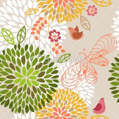 Seamless Spring Botanical Background Royalty Free Stock Vector Art Illustration 15 credits