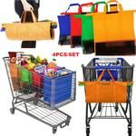 Main Features: Set of 4 Reusable Shopping Cart Bags Polyester Bag/Mesh Bottom Easy to Use and Heavy Duty Compact/Rolls up for easy storage Easy to fit in the back of a shopping cart or car Allows you to use both hands to pack Cool Kitchen Gadgets, Home Gadgets, Cool Kitchens, Trolley Bags, Things To Buy, Stuff To Buy, Cool Inventions, Home Hacks, Interior Design Kitchen