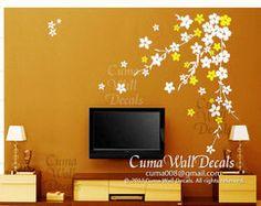 white cherry blossom wall decals flower vinyl wall decals tree nursery wall decals sticker children wall decal- cherry blossom cuma S I Z E (based