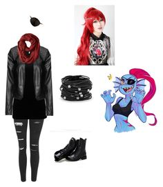 """""""Undertale: Undyne"""" by ladymist09 on Polyvore featuring Topshop, BKE, Zizzi, Puella, Sunsteps, Ciel and Chico's"""