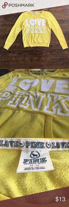 Victoria's Secret PINK Yellow Crewneck Sweatshirt Victoria's Secret PINK    Size M PINK Victoria's Secret Tops Sweatshirts & Hoodies