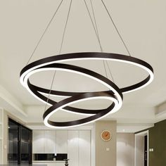 Brown Hoop Chandelier Contemporary Acrylic LED Ceiling Light Fixture in Warm Light Chandeliers Led Ceiling Light Fixtures, Warm Light, Chandelier Pendant Lights, Light, Modern Table Lamp, Light Fixtures, Modern Ceiling Light, Bubble Chandelier, Led Chandelier
