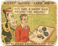 1933 Mickey Mouse gum card w/Walt Disney