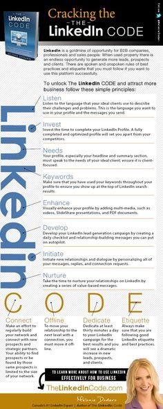 Cracking The LinkedIn Code Infographic via Melonie Dodaro of Top Dog Social Media. Great tips!#linkedin #socialmedia