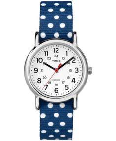 Timex Women's Weekender Blue Polka Dot Nylon Strap Watch 31mm TW2P65300 | macys.com