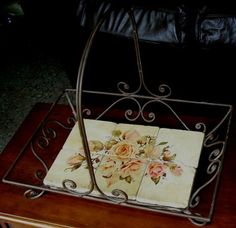 42831 605B $399 OR BEST OFFER- FREE SHIP WORLDWIDE- USA FRUNITURE SHOWROOM SAMPLE - SOLD AS IS - METAL BASKET WITH STONE BASE WITH FLOWERS  - SOLD AS IS - MAY NEED PAINT TOUCH UP