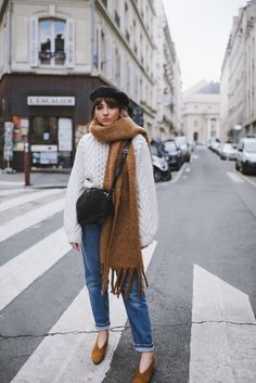 Topshop White Chunky Knit Sweater + Beyond Retro Vintage Jeans + Vagabond Mustard Pumps + The Frankie Shop Oversized Scarf + Topshop Black Beret + Sezane Crossbody Bag via Alice Catherine // Style Blogger, Winter Outfit Idea, Women's Fashion
