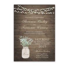Rustic Mason Jar Wedding Invitation With Babys Breath. Gorgeous barn wood style wedding invitations babys breath in a mason jar for rustic chic weddings