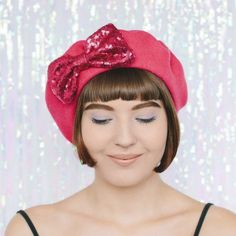 Pink Beret Pink Sequin Bow front Sequin Fabric, Pink Sequin, French Beret Hat, Wool Berets, Love Hat, Retro Chic, Winter Accessories, Fascinator, Wool Felt