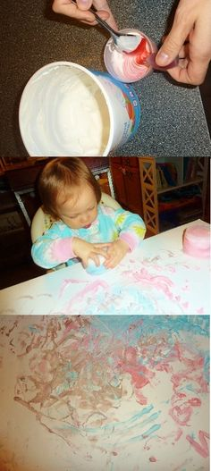 Cool Whip finger painting and more messy play.