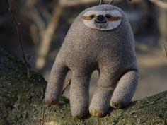 Sloth stuffed toy, plush toy sloth, recycled fabric, eco friendly toy sloth by NataliBright on Etsy https://www.etsy.com/listing/185296454/sloth-stuffed-toy-plush-toy-sloth