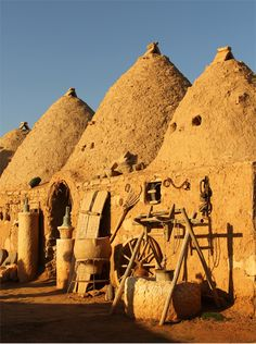 Harran, Urfa. These houses are an ancient type of architecture, made of earth, which help the climate inside steady.