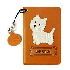 Westie Handmade Dog Leather Commuter ID Pass Card Holder Made in Japan by VANCA