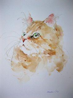 en 2019 gatos gato aquarela, design aquarela y prod Animals Watercolor, Watercolor Cat, Watercolor Paintings, Watercolors, Watercolor Ideas, Cat Drawing, Painting & Drawing, Art Et Illustration, Illustrations
