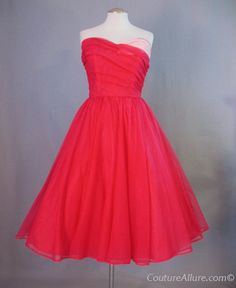 Vintage 50s EMMA DOMB Dress Pink Full Skirt Strapless Medium bust 38 at Couture Allure Vintage Clothing