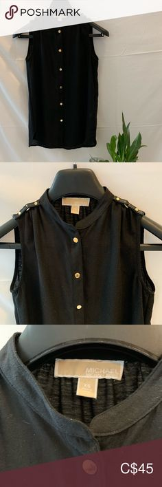 Michael Kors - sleeveless Top Beautiful details over the shoulder with gold buttons In excellent condition Michael Kors Tops Michael Kors Tops, Michael Kors Black, Plus Fashion, Fashion Tips, Fashion Trends, Buttons, Shoulder, Gold, Jackets